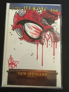 New Avengers 1 DF Haeser 🔥Zombie Spiderman Sketch Signed, Remarked HOT 🔥