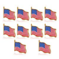 10pcs High Quality American Waving Flag Lapel Pins - Patriotic US USA U.S. U.S.A