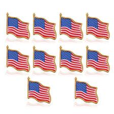 10pcs High Quality American Waving Flag Lapel Pins - Patriotic US U.S. USA U.S.A