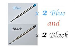 Quality Ballpoint Pen Refills, 4 Pieces in Medium. Fits Parker Pens Too