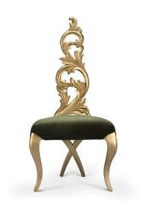 Gold Leaf Chair In Green Velvet