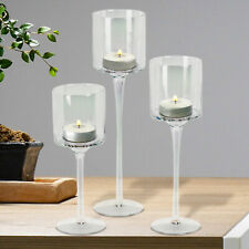 Set 3 Tall Gold Glass Candle Holders Large Centrepiece Tealight Wedding Party