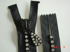 "(2) 6"" Swarovski  Rhinestone Zippers - Non Separating - Black- Large Stones"