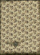 Nice Small Floral Print brown tan on ecru with very tiny tan wavy lines Fabric