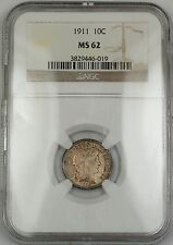 1911 Barber Silver Dime 10c Coin NGC MS-62 Lightly Toned RF