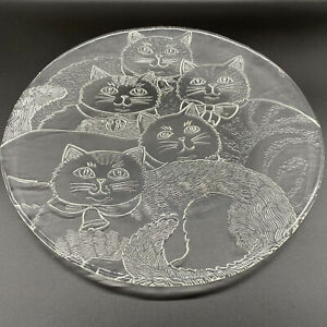 """Pilgram Glass Clear 13 """" Cat Party Platter Round Embossed Textured Bells & Bows"""