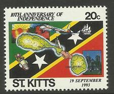 ST KITTS 1993 Independence SINGLE Value CRICKET BAT BALL STUMPS MAP SHIP 1v MNH