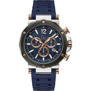 Gc Guess Collection Men's Watch Steel Silicone Chronograph Blue Dial Y53007G7MF