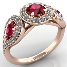 Anello Oro 18Kt gr. 5,40 con Rubini Tondo e Goccia e Diamanti Brillanti ct. 1,05