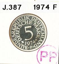 5 DM Deutsche Mark, 1974 F Silber Kursmünnze Polierte Platte = PP