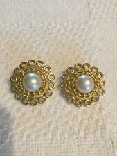 PAOLO Gucci Gold Sun Shield Faux White Pearl Doorknocker Clip on Earrings