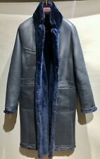 SPRUNG FRERES Reversible Leather and Shearling Coat Navy Medium RRP £2700 BNWT