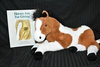 """Dan Dee Collector's Choice Brown & White Pinto Horse 20"""" Plush with Book Signed"""