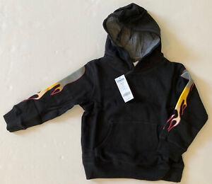 NWT Gymboree Turbo Charge XS 3-4 Black Flame Sleeve Hoodie Sweatshirt 3T-4T