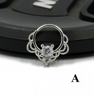 Silver CZ Septum Ring Septo Piercing Tragus Helix Cartilage Earring Nose Jewelry