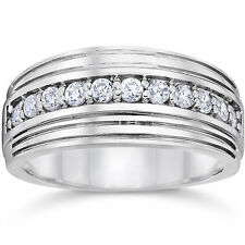 Natural 0.50 Ct SI1 Diamond Bands Hallmarked 14K White Gold Wedding Mens Rings23