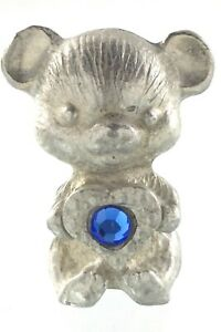Vintage Silver Tone Bear With Blue Stone Inside Heart 1.25in Metal Figurine 832C