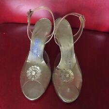 Vintage 1950's Lucite & Rhinestone Embellished Heels Pumps Sz 7.5 Retro Wedding