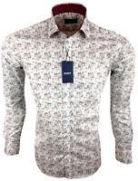Herren Hemd mit Schmetterlingsdessin Regular Langarm 97% Baumwolle M-3XL