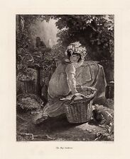 """Stunning 1800s THOMAS UWINS Etching """"Young Girl with a Crown Of Hops"""" SIGNED COA"""