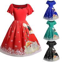 Women Xmas Short Sleexe Plus Size Bow Santa Claus Print Vintage O-Neck Dress