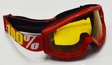 100% Por Cien ESTRATOS MOTOCROSS MOTO Gafas horno rojo con Amarillo Tintado