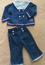 Baby Lulu Toddler Girls chambray denim 2 piece Blue Sailor collar EUC 18 months