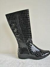 Heavenly Feet Kneehigh Black Crocodile-look Boot Size EU 40 UK 6.5