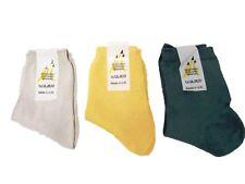 6 X Plain Ankle Socks Dark Green Beige & Yellow Kids Children Boy Girl