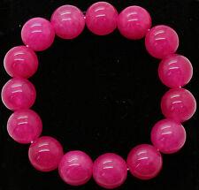 12mm Natural pink  Jade Jadeit Round Beads Gemstone Stretch Bracelet