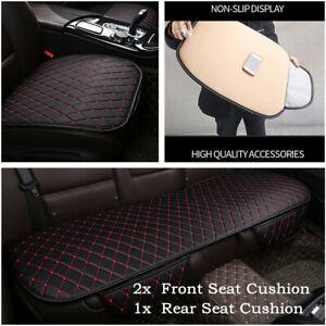 3Pcs/set Car Seat Cover Protector Non-slip Cushion PU Leather Interior w/Pocket