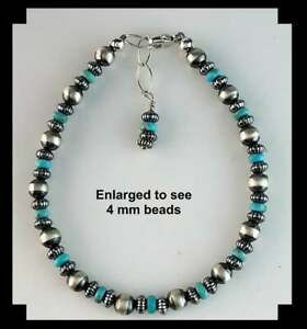 White Fox Creation: Sterling Navajo Pearl and Gemstone Bracelet