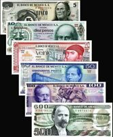 Mexico 1971-1984 > 5,10, 20, 50,100, 500 Pesos, Banknote set of 6 UNC