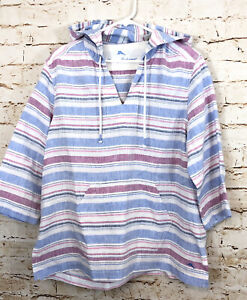 Tommy Bahama womens large Tulum Striped Linen Hoodie Pullover Top beach E9