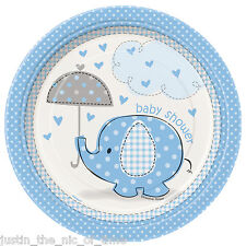 "BLUE UMBRELLAPHANTS Baby Shower Boy Tableware Supplies Plate 7"" Paper PLATES x8"