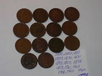INDIAN HEAD penny SMALL CENT 1882,1883,1887,1889,1890,1891,1893-99 14 PC LOT #B