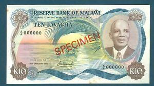 Malawi Specimen note1976 10 Kwacha, K10