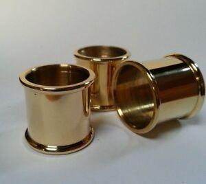3 mixed BEADED BRASS COLLARS 23mm, 24mm & 25mm diameter for Walking Stick Making
