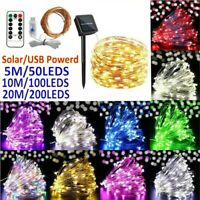 100/200 LED Solar/USB Fairy String Lights Outdoor Copper Wire Garden Xmas Decor