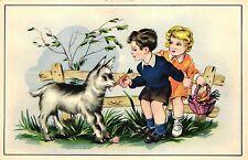 Ziege, Kinder mit Ziege, ca. 40er/50er Jahre