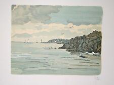 Cote bretonne : Lithographie originale signée de YAN Robert