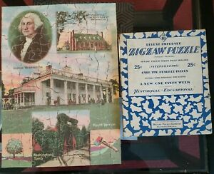 "1930s Deluxe Puzzle Co. Zigzaw Puzzle ""GEORGE WASHINGTON"" No. 10 Complete w/Box"