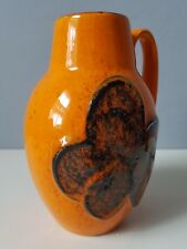 Classic Orange Fat LAVA West German vase by Scheurich in rare floral glaze 16cm