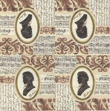 3 Serviettes en papier Cocktail Musique Symphonie Beethoven Cream Paper Napkins