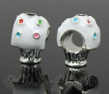 WHITE ENAMEL CUP CAKE BEAD FOR EUROPEAN CHARM BRACELETS SILVER PLATED