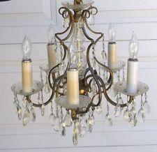Vintage Brass Crystal Chandelier elegant Ornate 5 light
