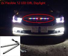 Car Universal High Power Bendable 12 LED White Waterproof Daytime Running Light