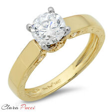 1.14 ct Round Cut Solitaire Designer Wedding Ring Solid 14k Yellow White Gold