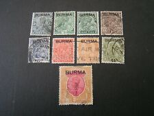 BURMA, SCOTT # 1-6(6)+8/9(2)+14(9) 1937 KGV DEFINITIVE ISS OVPT BURMA USED
