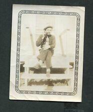 Vintage Photo Man w/ Hat & Tie SMOKING PIPE 438095